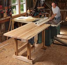 outfeed table doubles as a workbench finewoodworking