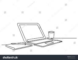 Line Desk Continuous Line Drawing Desk Laptop Computer Stock Vector