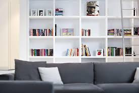 Family Room Cool Bookcases Ideas Decorations Awesome White Penthouse Family Room Interior