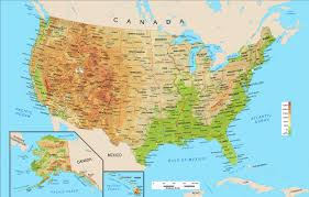 Physical Map Of Canada by United States Physical Map Wall Mural From Academia