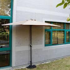 Ebay Patio Umbrellas by 10 U0027 Ft Half Round Outdoor Patio Umbrella Wall Corner Yard Crank