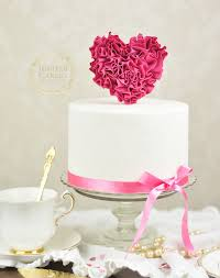 fondant ruffled heart cake topper