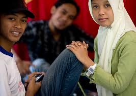 Muslim teenagers in Java  Indonesia