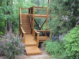 Deck Stairs Design Ideas Exterior Gorgeous Home Exterior Decoration Using Wooden Deck With