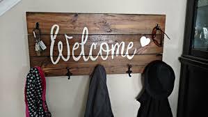 wood coat rack welcome coat hanger entryway storage rustic
