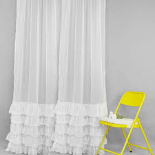 White Ruffled Curtains For Nursery by White Sheer Curtains Select Peyton 63inch Back Tab Sheer Window