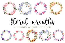 flower wreath watercolor flower wreaths set illustrations creative market