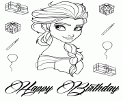 elsa birthday cake disney coloring pages printable
