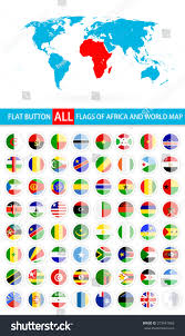 Labeled Map Of Africa by Round Flat Button Flags Africa Complete Stock Vector 373441066
