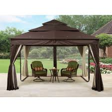 Pergola Gazebo With Adjustable Canopy by Sojag Dakota 12 Ft W X 10 Ft D Metal Permanent Gazebo Walmart Com