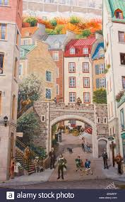 wall mural depicting history of city in lower town quebec city stock photo wall mural depicting history of city in lower town quebec city quebec canada