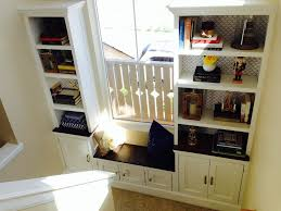 ana white stairs landing built in bench cabinet and bookshelves