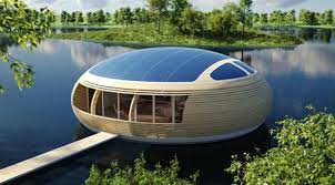 technology house concept of eco friendly floating house with solar panels future