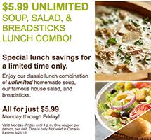 olive garden lunch 6 99 unlimited soup salad breadsticks free