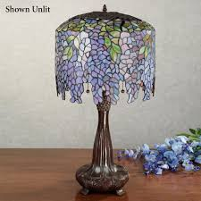 Stained Glass Light Fixtures Dining Room by Wisteria Stained Glass Table Lamp With Cfl Bulb