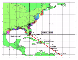 Florida East Coast Map by Huricane Futures Market