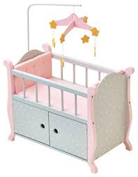 little princess doll furniture nursery crib with storage gray