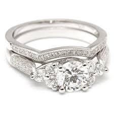bridal ring sets sterling silver cz diamond 2 bridal wedding ring set