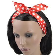 wire headband satin big polka dot wire headband retro band wrap hair bendy