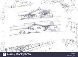 house plan blueprints top view of architecture sketch and house plan blueprints