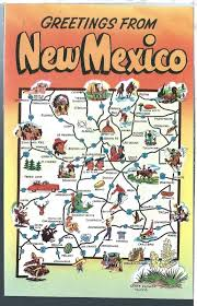 Nm State Map Vintage State Map Postcard Greetings From New Mexico Chrome