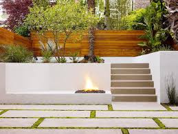 concrete seat wall patio contemporary with bushes modern outdoor