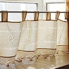 Crochet Valance Curtains Amazon Com Creative Linens Cotton Crochet Lace Kitchen Curtain