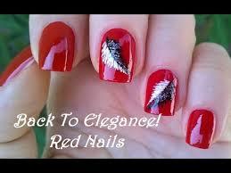 elegant red nail art with black u0026 white feathers diy pretty