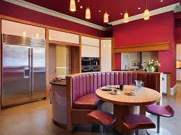 island banquette seating kitchen contemporary with red painted