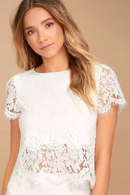 white lace white top lace crop top lace top scalloped top 36 00