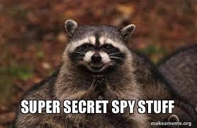 Spy Meme - super secret spy stuff evil plotting raccoon make a meme