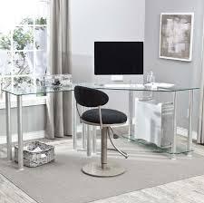 Black L Shaped Computer Desk Furniture Fantastic L Shaped Computer Corner Desk With Glass Top