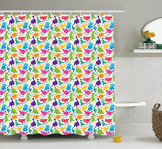 Paris Fabric Shower Curtain by Amazon Com Cat Shower Curtain By Ambesonne Decorations Gray Cute