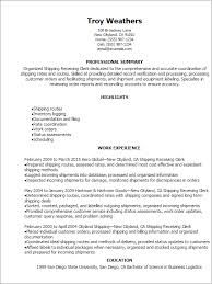 Examples Of Clerical Resumes by Professional Shipping Receiving Clerk Resume Templates To Showcase