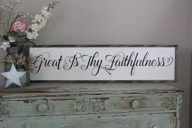 Christian Home Decor Wall Art Great Is Thy Faithfulness Framed Wood Sign Dining Room Wall