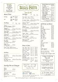 restaurant menu click here for larger image snow creek