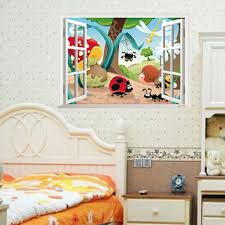 Bedroom Wall Stickers Uk 3d Window View Cartoon Insects View Kids Nursery Uk Wall Sticker
