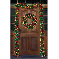 decorating lighted garland large wreath