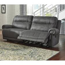 Power Leather Recliner Sofa Austere 2 Seat Faux Leather Reclining Power Sofa In Gray