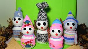 diy sock snowmen craft how to make a snowman out of socks youtube