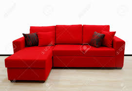 L Shaped Fabric Sofas L Shape Fabric Four Sitter Sofa Red Color Stock Photo Picture