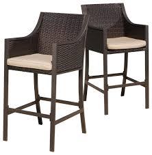 Bar Stool Patio Furniture Rani Outdoor Bar Stools Set Of 2 Brown Contemporary Outdoor