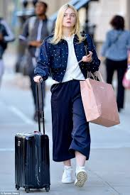 elle fanning jazzes up culottes with dotty jacket in nyc daily