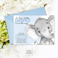 blue elephant baby shower invitation it u0027s a boy watercolor