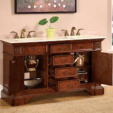 b1505 60 double sink vanity cream marfil marble top cabinet