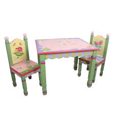 3 piece table and chair set amazon com fantasy fields magic garden thematic hand crafted kids