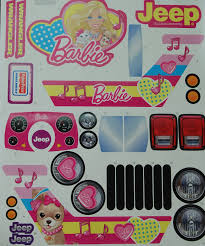 power wheels jeep barbie power wheels barbie jeep label decal sheet genuine new