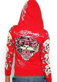 ed hardy hoodies classic tiger logo red for women 654704 ed