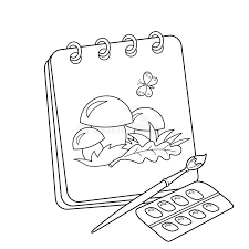 coloring page outline of cartoon album or sketchbook with brush