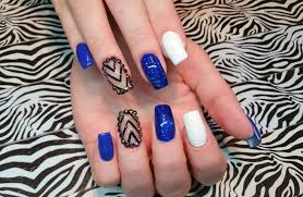 acrylic nail infill l blue u0026 cute l nail design youtube